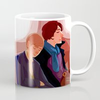 johnlock Mugs featuring Johnlock on the tube after a case by Sama Ma