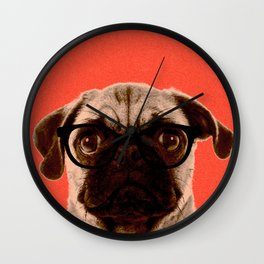 Geek Pug in Red Background Wall Clock