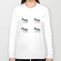 socks Long Sleeve T-shirts featuring ZEBRA SOCKS by Patricia de Cos