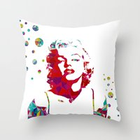 monroe Throw Pillows featuring MONROE by Bianca Lopomo