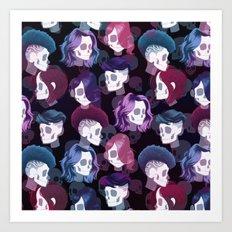 Skull Hair Pattern Art Print