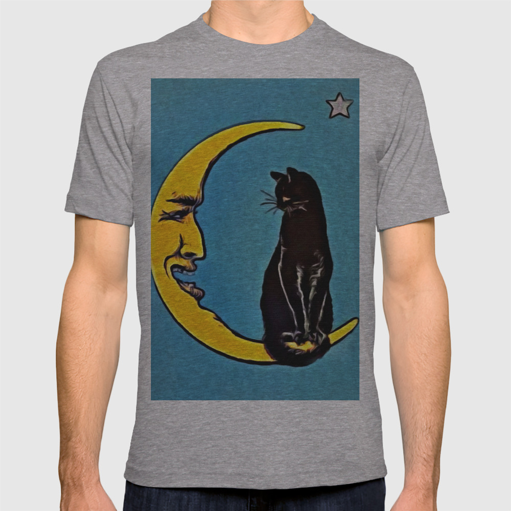 XS-XL INTERESTPRINT Black Cat Sitting on The Moon Childs T-Shirt