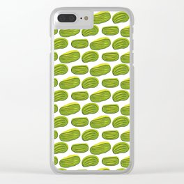 Pattern with green cucumbers Clear iPhone Case