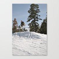 snowboarding Canvas Prints featuring Snowboarding by Monica Cadena