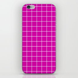 Magenta with White Grid iPhone Skin