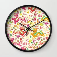 Scared dragons Wall Clock