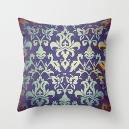 Olden damask pattern Throw Pillow