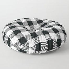 Buffalo Check Black White Plaid Pattern Floor Pillow