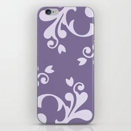 Royal Damask, Ornaments, Swirls - Purple White iPhone Skin