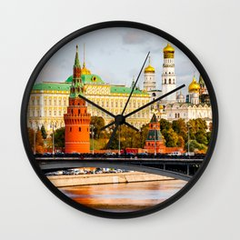 Moscow Kremlin in autumn panorama right Wall Clock