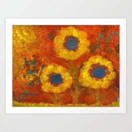 Sunflowers with a golden sun Art Print