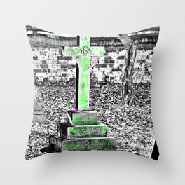 Green Cross Gothic Throw Pillow
