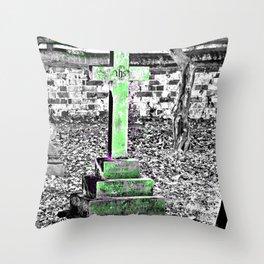 Green Cross Gothic Throw Pillow