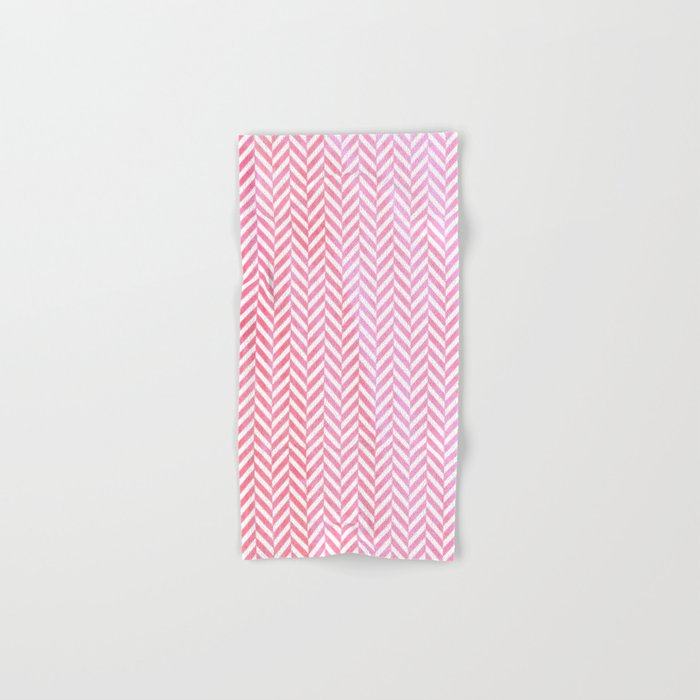 Watercolor Herringbone Chevron pattern - pink on white Hand & Bath Towel