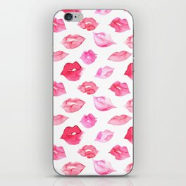 Watercolor pink lips pattern iPhone Skin