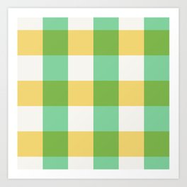 mint yellow plaid Art Print