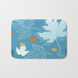Lovely blue sky illustration with autumn leaves pattern  Bath Mat