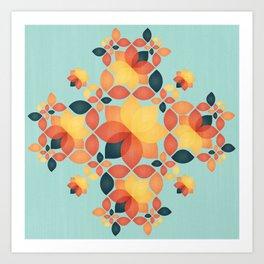 Orange Garden Pattern Art Print