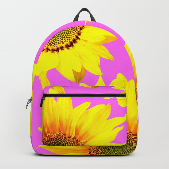 Large Sunflowers on a pink background - #Society6 #buyart Backpack
