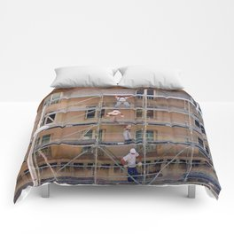 Men On Scaffolding Comforters