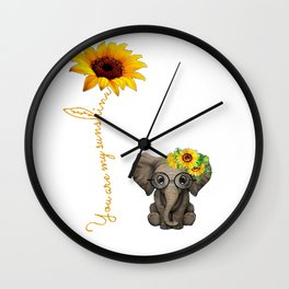 You Are My Sunshine Hippie Sunflower Elephant Wall Clock