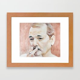 Bill Murray Smoking - Rushmore Framed Art Print