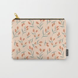 Winter Berries on Pink Carry-All Pouch