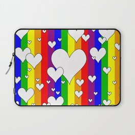 Gay flag with the colors of the rainbow with hearts Laptop Sleeve