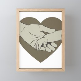 Father and Child Love New Dad Holding Baby's Hand Father's Day Framed Mini Art Print