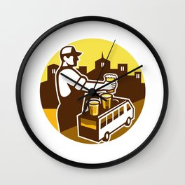 Bartender Beer City Van Circle Retro Wall Clock