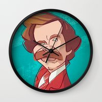anchorman Wall Clocks featuring Anchorman by nachodraws