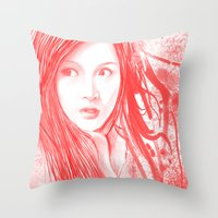 blood Throw Pillows featuring Blood by denzmoon