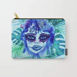 Woman with Tropic leaves Carry-All Pouch
