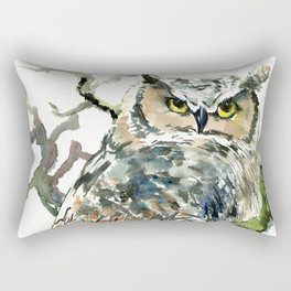 Great Horned Owl in Woods Rectangular Pillow