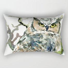 Great Horned Owl in Woods, woodland owl Rectangular Pillow