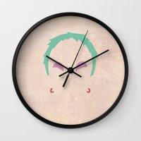gurren lagann Wall Clocks featuring Minimalist Leeron by 5eth