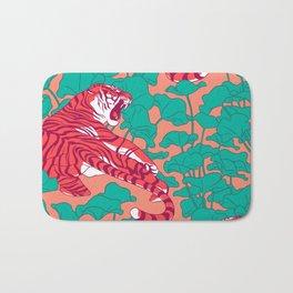 Scarlet tigers on lotus flower field. Bath Mat