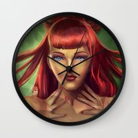 poison ivy Wall Clocks featuring Poison Ivy by Valérie Loetscher (Vay)