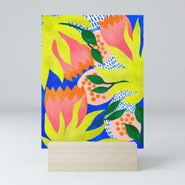 Bold Flower Pattern Blue Background Mini Art Print