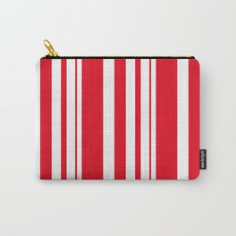 White and red striped . Carry-All Pouch