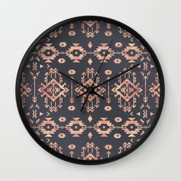 Trendy tribal geometric rose gold pattern Wall Clock