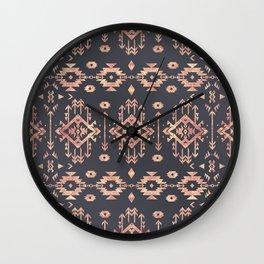 Trendy tribal geometric rose gold pattern Wall Clock