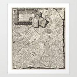 Vintage Map - Map of Rome, from Campus Marius Antiquae Urbis (1762) Art Print
