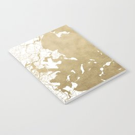 Boston White and Gold Map Notebook