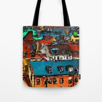 copenhagen Tote Bags featuring Copenhagen Rooftops by E.M. Shafer