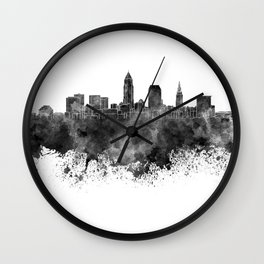 Cleveland skyline in black watercolor on white background Wall Clock