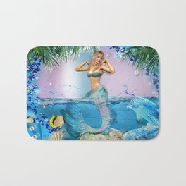 Mermaid and Dolphins Bath Mat
