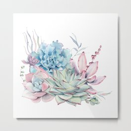 Pretty Pastel Succulents Metal Print