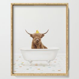 Highland Cow with Rubber Ducky in Vintage Bathtub Serving Tray