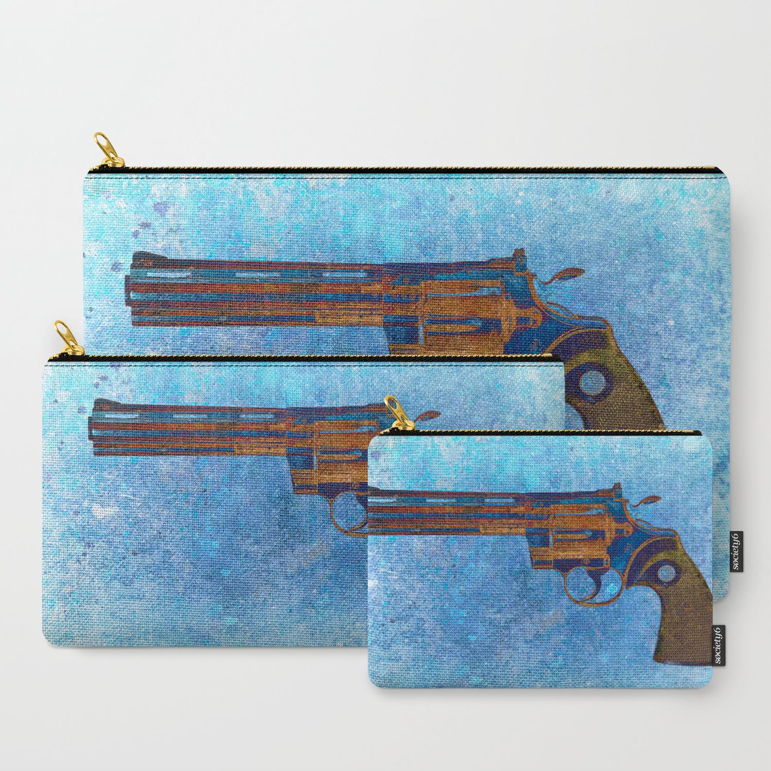 Colt Python 357 Magnum on Blue Back Ground Carry-All Pouch